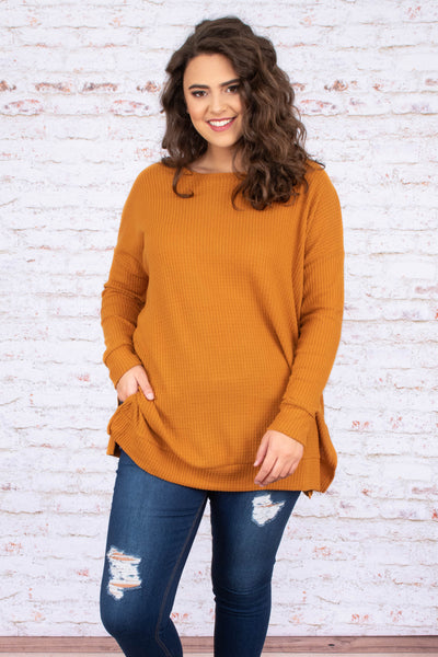 tunic, long sleeve, long, side slits, waffle knit, mustard, comfy, flowy, fall, winter