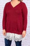 shirt, long sleeve, vneck, lace hem, long, fitted, sweater material, burgundy, white lace, comfy, fall, winter