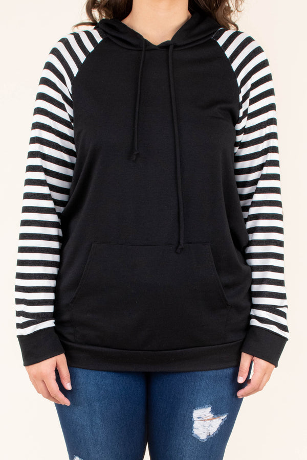 hoodie, long sleeve, hood, drawstrings, front pocket, fitted, short, black, striped sleeves, white, comfy, elbow patches, outerwear