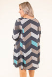 dress, short, three quarter sleeve, pockets, flowy, comfy, charcoal, mint, gray, tan, chevron