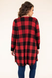 cardigan, three quarter sleeve, long, flowy, loose sleeves, red, black, plaid, comfy