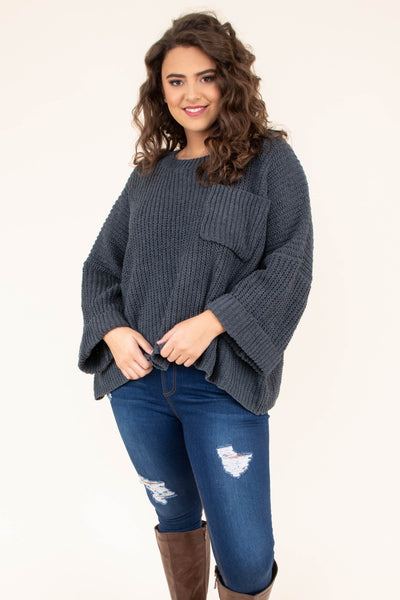 sweater, three quarter sleeve, chest pocket, cuffed sleeves, large sleeves, flowy, short, longer back, charcoal, comfy, fall, winter