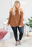 top, long sleeve, cold shoulder, camel, comfy. sweater