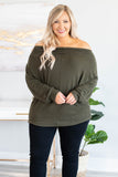 shirt, long sleeve, off the shoulder, olive, solid, loose, flowy, comfy, cozy, fall, winter