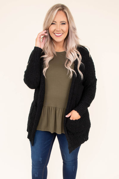 cardigan, long sleeve, sweater material, pockets, long, comfy, outerwear, fall, winter, black