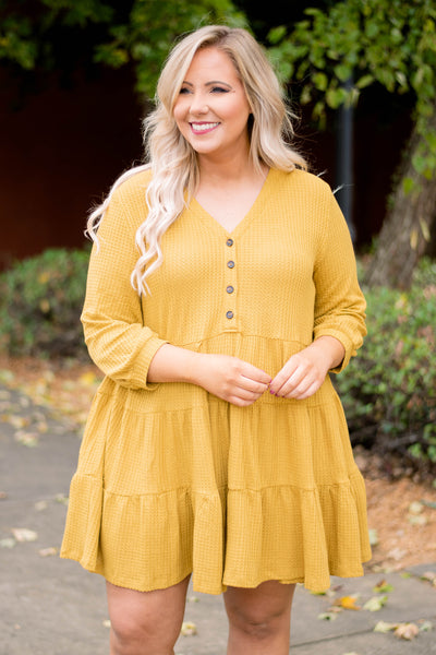 dress, short, three quarter sleeves, babydoll, vneck, buttons, waffle knit, mustard, solid, cozy