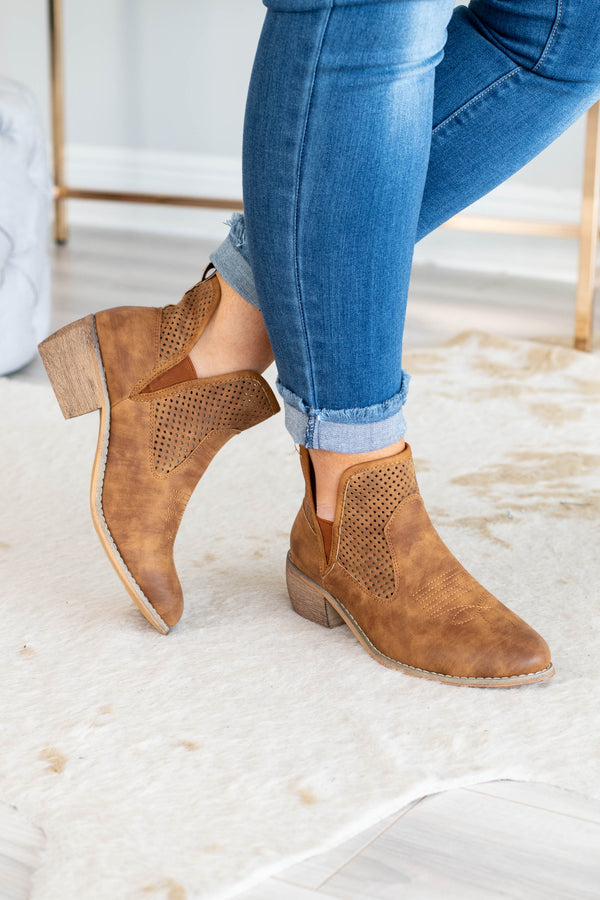 booties, low heel, tan, ankle cutouts, stitching detail