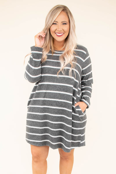 dress, short, long sleeve, pockets, gray, white, striped, flowy, comfy