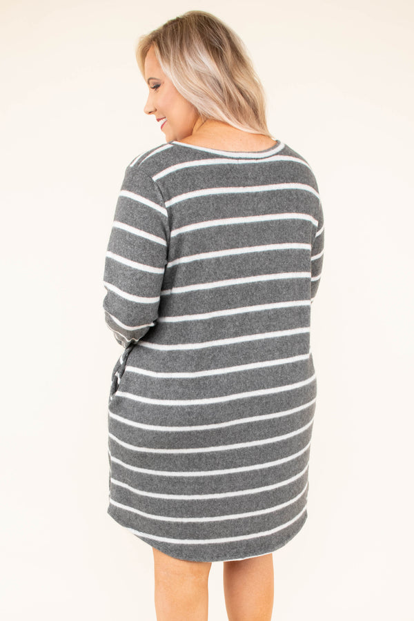 East To West Dress, Gray-Ivory
