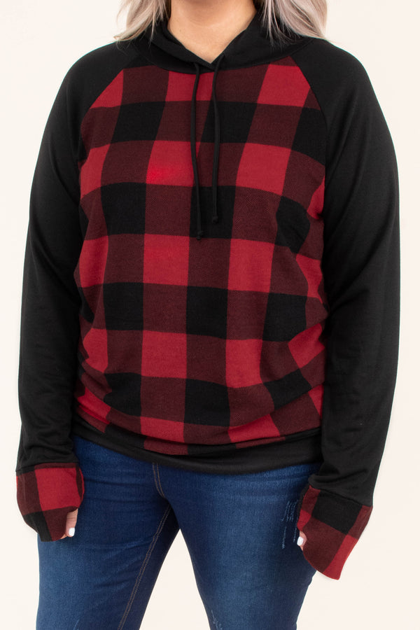 hoodie, long sleeve, hood, drawstrings, elbow patches, fitted, red, black, plaid, black sleeves, comfy, outerwear, fall, winter