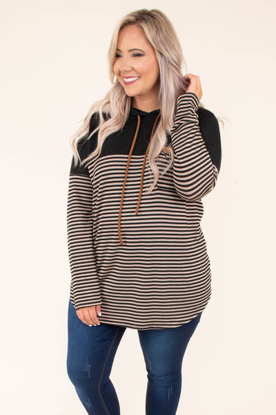 hoodie, long sleeve, hood, drawstrings, chest pocket, curved hem, loose, taupe, black, stripes, colorblock, brown details, comfy, outerwear