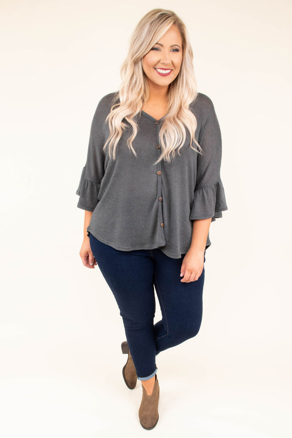 shirt, three quarter sleeve, bell ruffle cuff, loose sleeves, vneck, button down, short, flowy, gray, comfy