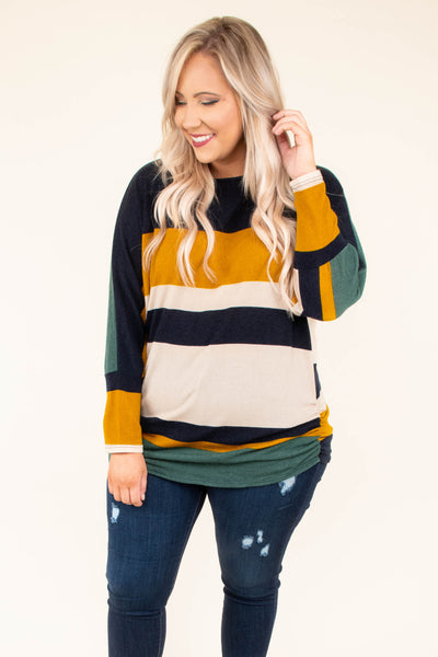 shirt, long sleeve, fitted, curved hem, navy, mustard, white, teal, colorblock, comfy, fall, winter