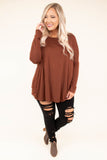 shirt, long sleeve, long, rust, solid, flowy, basic, fall, winter