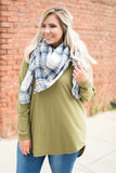 tunic, long sleeve, olive, solid, comfy, loose, curved hem