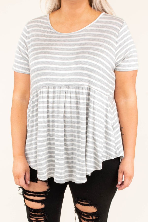 Just A Game Top, Heather Gray-Ivory