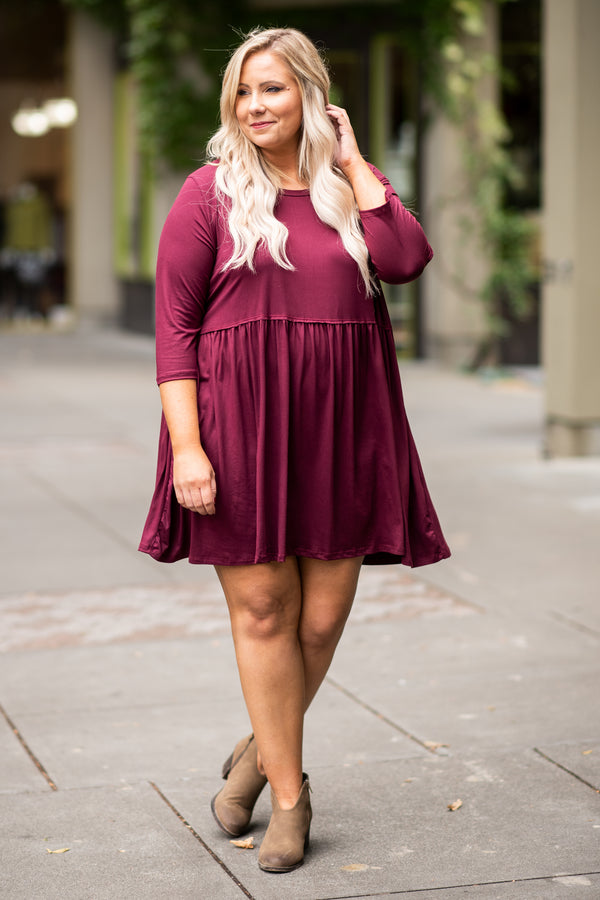 dress, short, three quarter sleeve, babydoll, flowy, burgundy, comfy