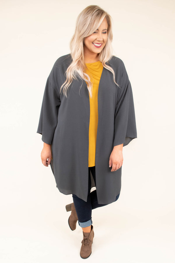 kimono, long sleeve, long, flowy, charcoal, thin, comfy, outerwear