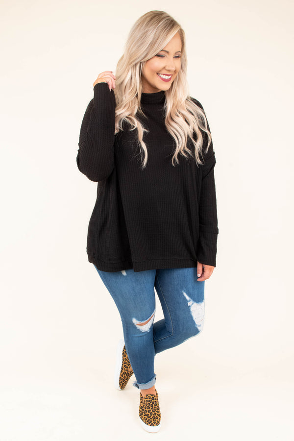 sweater, long sleeve, loose, high neckline, black, comfy, fall, winter