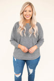 top, three quarter sleeve, heather gray, knit, comfy