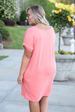 dress, short, short sleeve, vneck, pockets, loose, pink, solid, cuffed, comfy