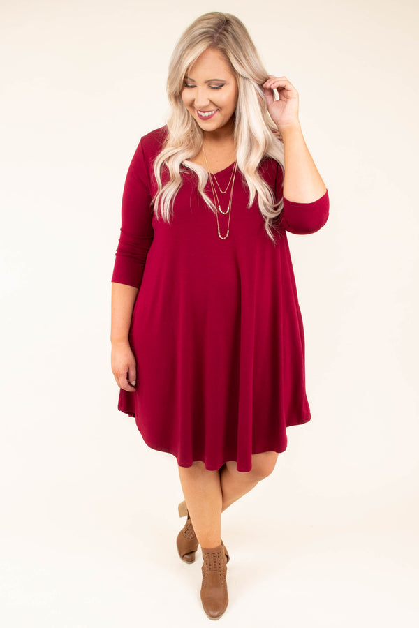 Spin Me Around Dress, Cabernet