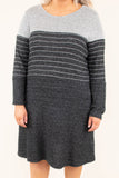 dress, long sleeve, color block, short, gray, stripe, charcoal