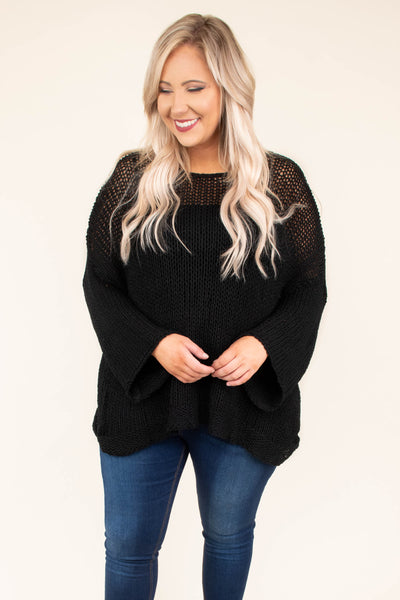 sweater, long sleeves, black solid, bell sleeves, flowy, comfy, cozy, fall, winter