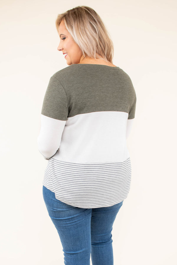 top, long sleeve, color block, olive, ivory, grey stripe