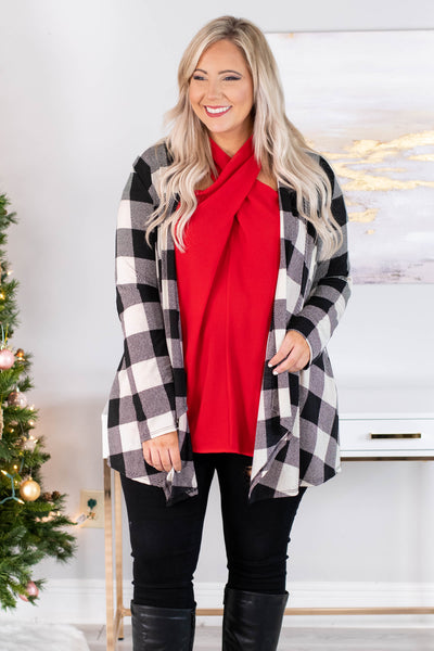 cardigan, long sleeve, elbow patches, long, flowy, black, white, plaid, comfy, fall, winter