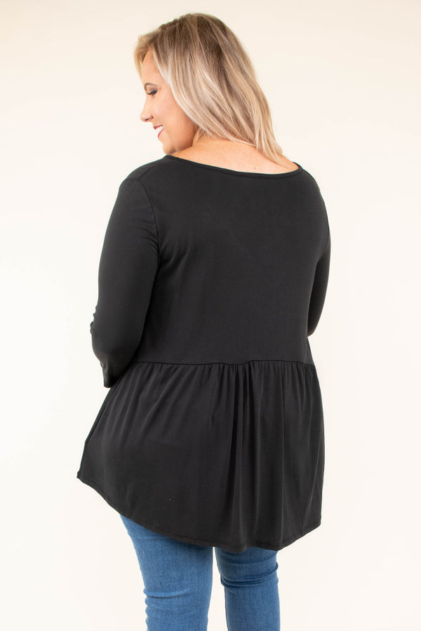 top, three quarter sleeve, black, baby doll fit, flowy, comfy, solid