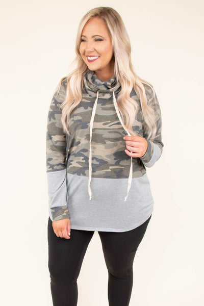 hoodie, long sleeves, green, camo, gray, colorblock, cowl neck, drawstring collar, comfy, cozy, outerwear, fall, winter