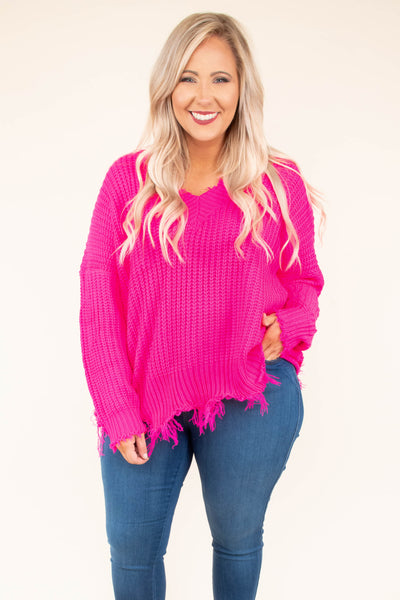 sweater, long sleeve, vneck, distressed, frayed, hot pink, comfy, fall, winter