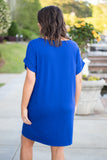 dress, denim blue, short sleeve, short, comfy