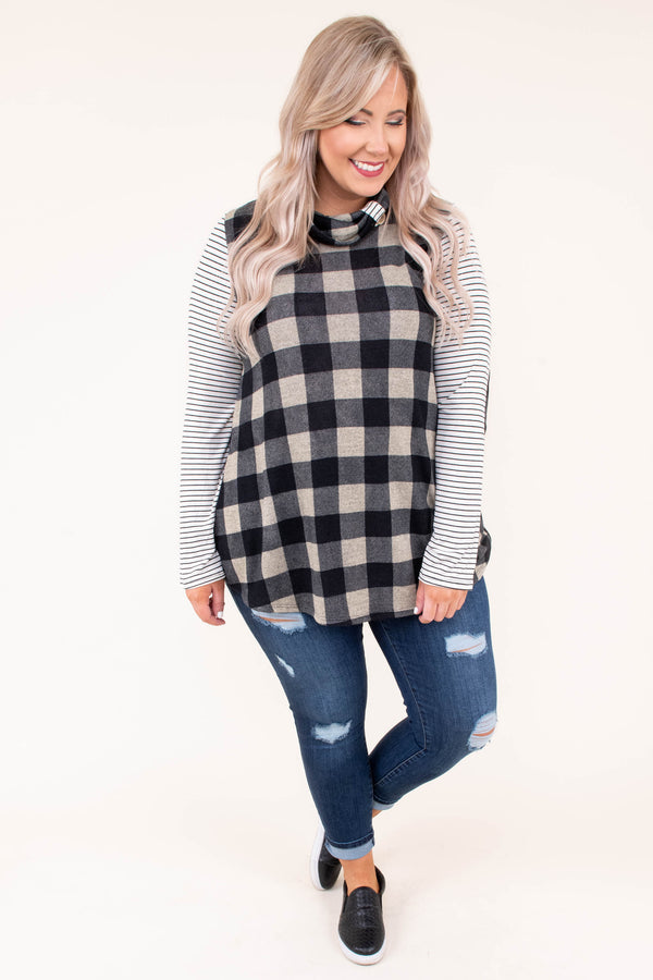 shirt, long sleeve, elbow patches, turtleneck, taupe, black, plaid, striped sleeves, white, comfy, fall, winter