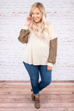 shirt, long sleeve, bubble sleeve, curved hem, oatmeal, solid, leopard sleeves, dropped shoulder, comfy, fall, winter