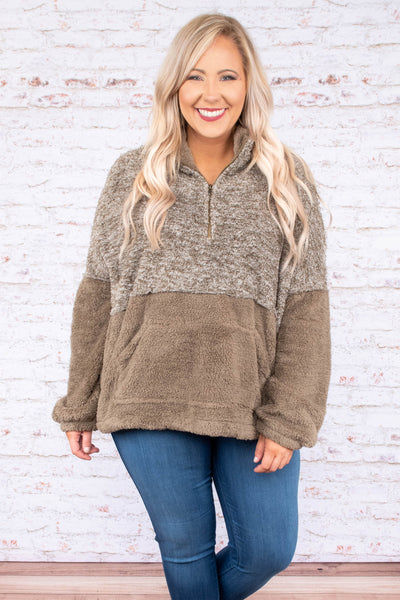 pullover, quarter zip, front pocket, mocha, heathered mocha, colorblock, fuzzy, warm, cozy, comfy, outerwear, fall, winter