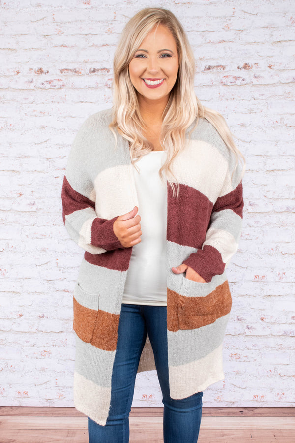 Think I'm In Love Cardigan, Burgundy Multi