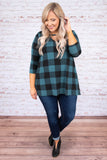 shirt, three quarter sleeve, vneck cutout, pockets, flowy, teal, black, plaid, comfy, fall, winter