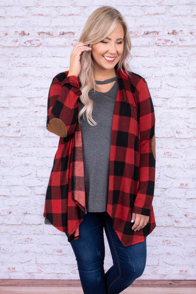 cardigan, long sleeve, elbow patches, long, asymmetrical hem, flowy, red, black, plaid, comfy, fall, winter
