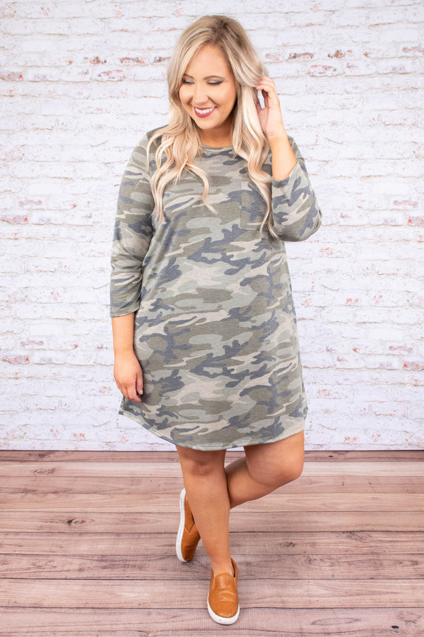 Calm During The Storm Dress, Army Green