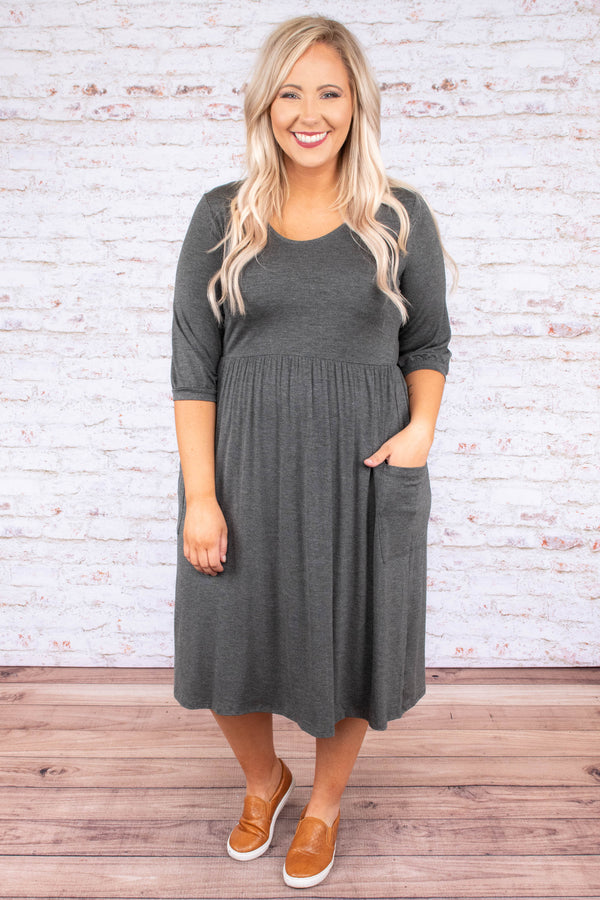 Take Me To Dinner Dress, Charcoal