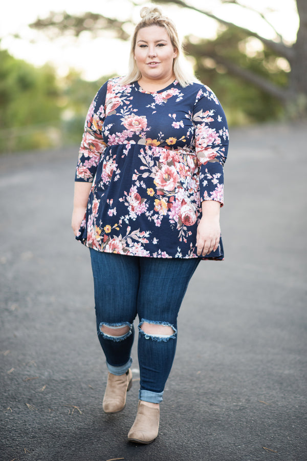 top, casual top, floral, long sleeve top, blue, rose, blush