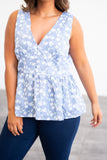 top, tank, baby doll top, blue, floral