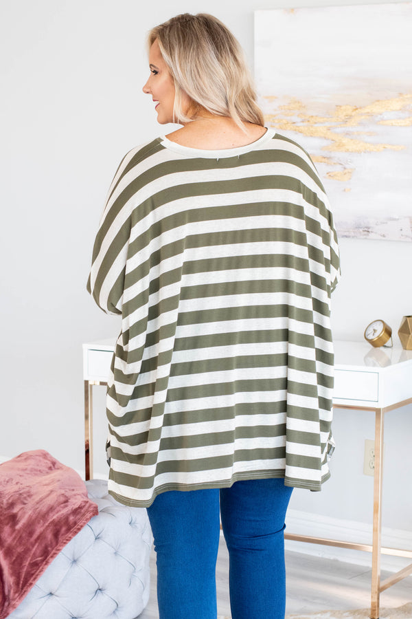 tunic, three quarter sleeves, asymmetrical hem, olive, white, striped, loose, flowy, comfy