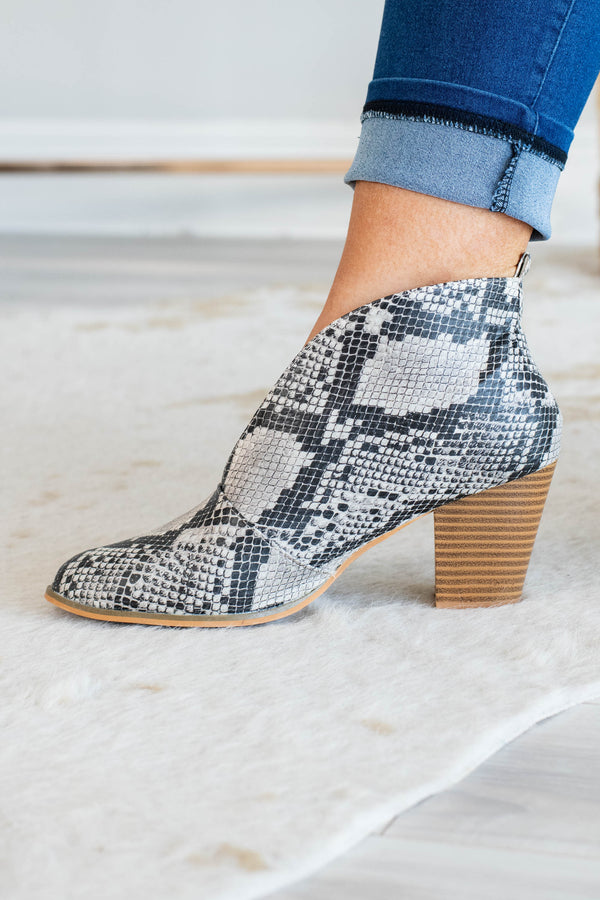 booties, heel, gray, snakeskin, v cut out, close toed