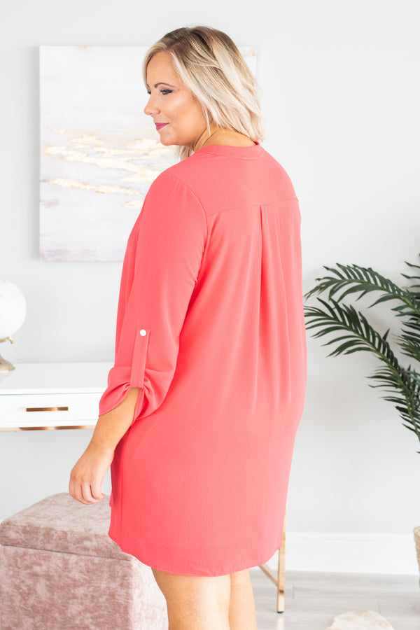 dress, three quarter sleeves, buttoned sleeves, vneck, coral, solid, flowy