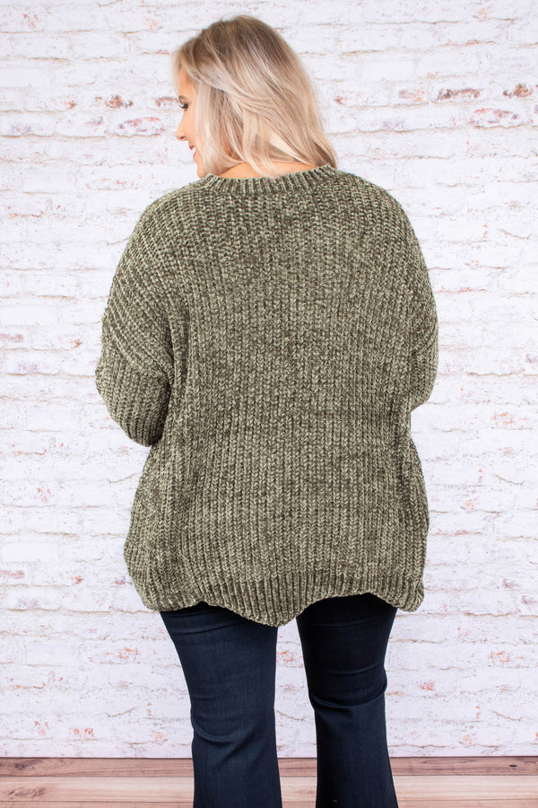 sweater, long sleeve, scallop hem, long, soft, olive, comfy, fall, winter