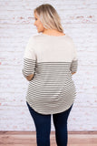 shirt, long sleeve, curved hem, chest pocket, loose, oatmeal, black, striped, comfy, fall, winter