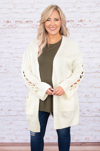 cardigan, long sleeve, cut out sleeves, long, pockets, flowy, white, comfy, fall, winter